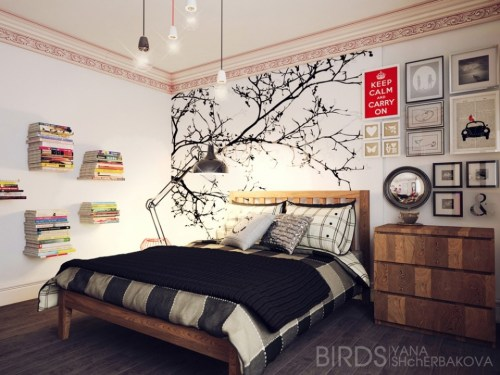 simple-floating-shelf-and-black-large-size-floor-lamp-for-reading-plus-tree-bedroom-wallpaper-960x720
