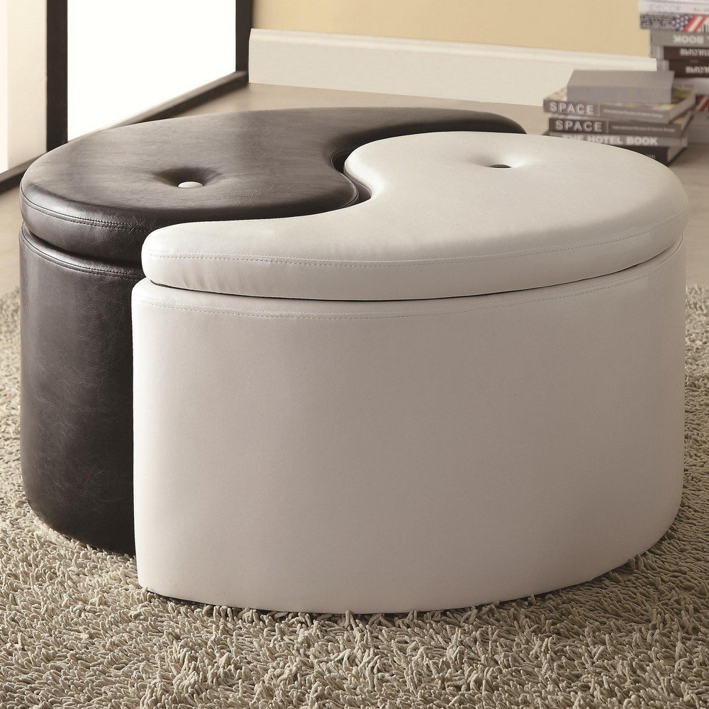 cool storage ottomans  creative living  design for the apartment  - this cool yinyang storage ottoman brings life to any living room as wellat functionality each section has a storage compartment