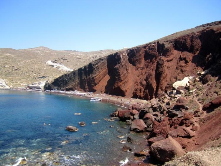 red sand beach santorini greece