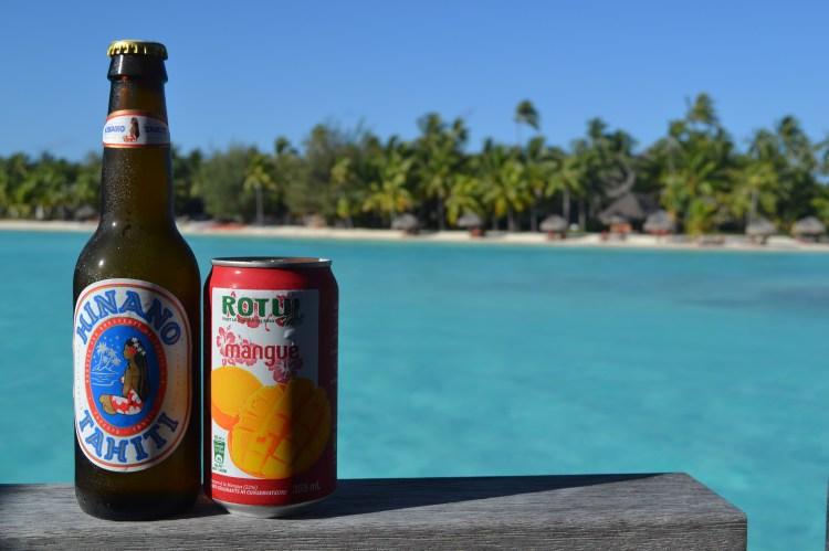 hinano beer and mango juice