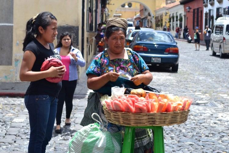 lady selling fruit guatemala