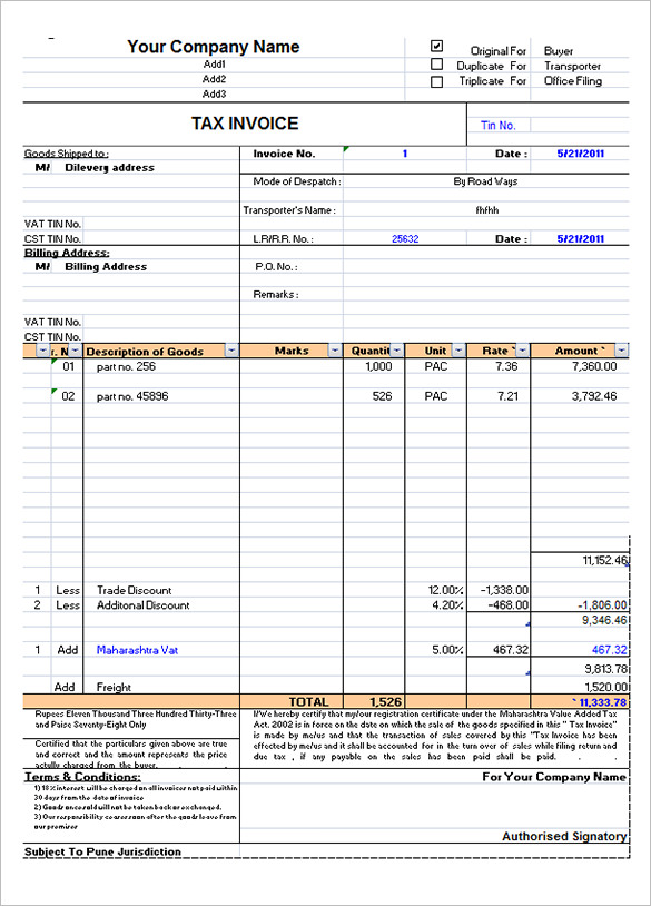 Export Invoice Format In Excel Free Download apcc2017