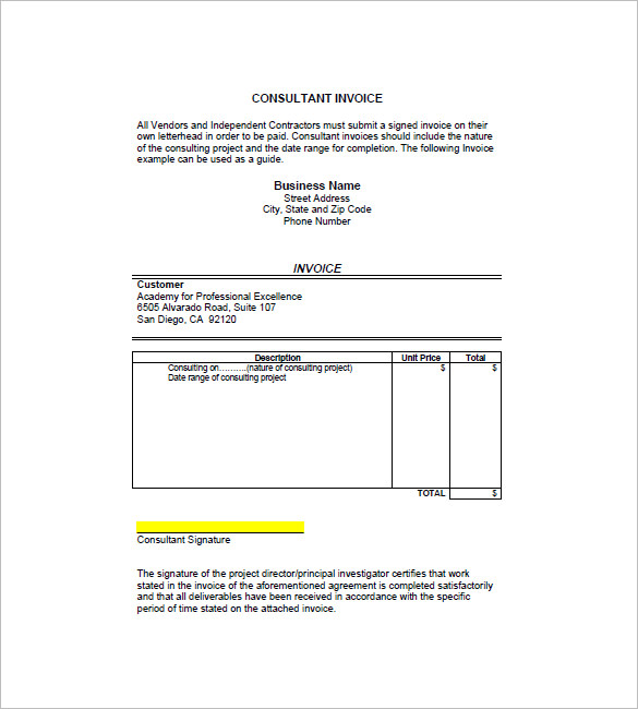 Sample Invoice For Consulting apcc2017