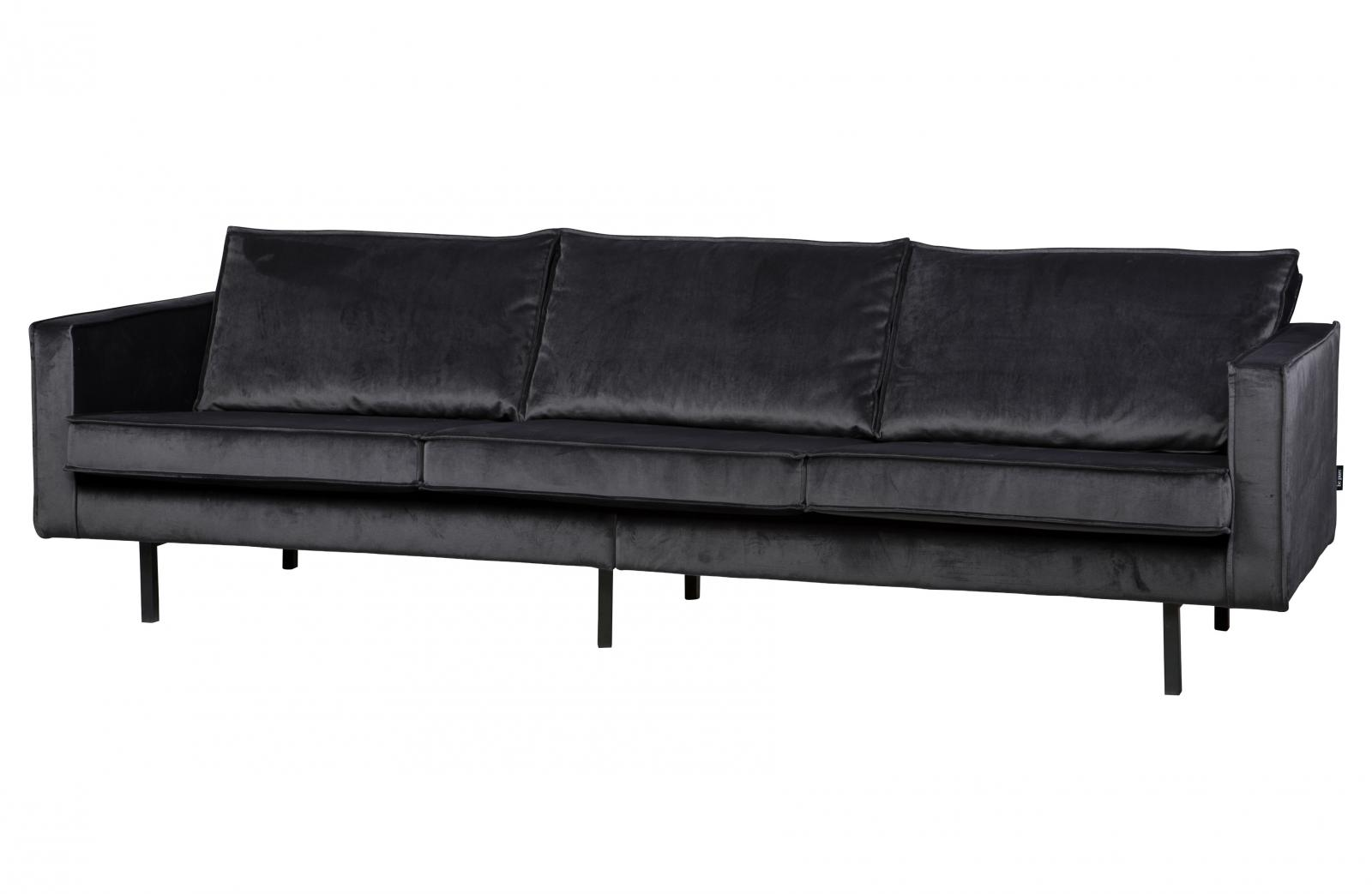 Samtsofa Rodeo Bepurehome Rodeo Velvet Sofa 3 Seater Dark Grey