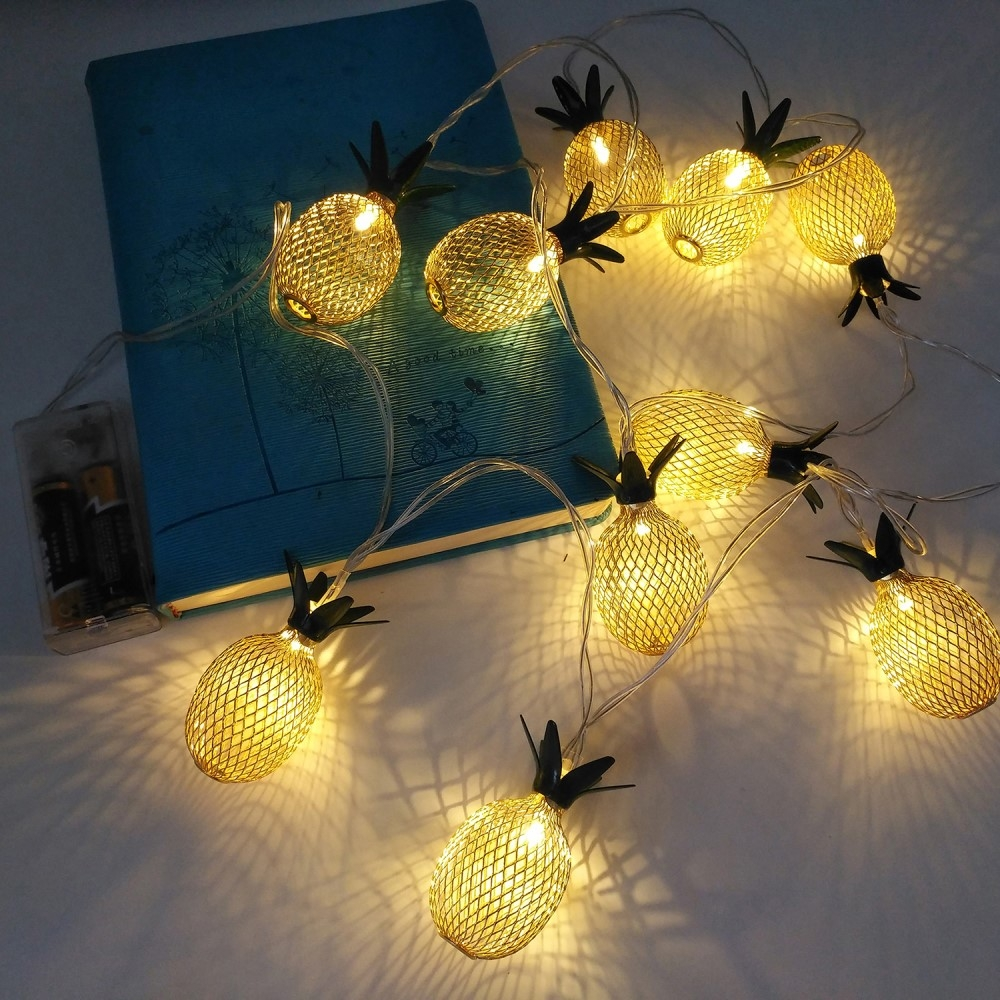 10er Led Ananas Lichterkette 1 5m Deko Lights Gold
