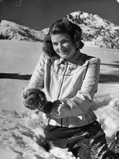 Actress Ingrid Bergman plays in the snow, LIFE magazine ...