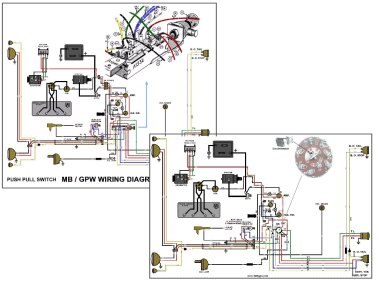 1945 jeep mb wiring harness with v6 engine