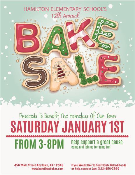 Holiday Bake Sale Invitations