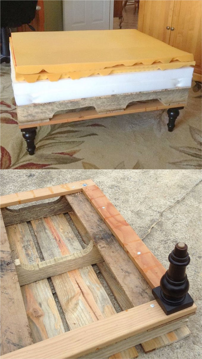 Ottoman Upholstery Beautiful Diy Ottoman From A Pallet And A Mattress Topper A
