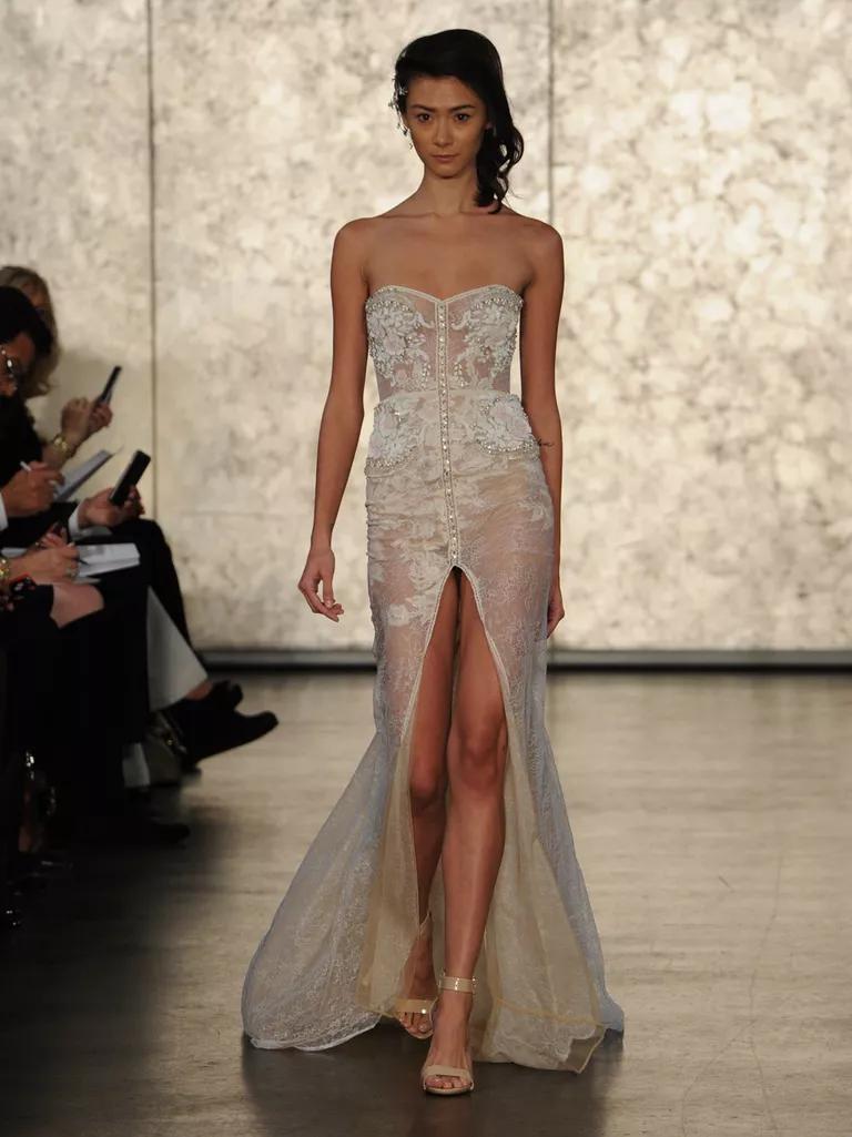 inbal dror wedding dresses bridal fashion week fall chantilly lace wedding dress Inbal Dror Fall strapless sheath wedding dress with blush Chantilly lace detail