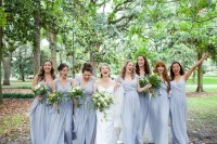 Light Blue-Gray Flowing Bridesmaid Dresses