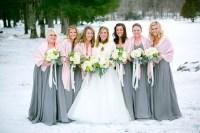 Graphite Gray Bridesmaids Dresses with Blush Shawl