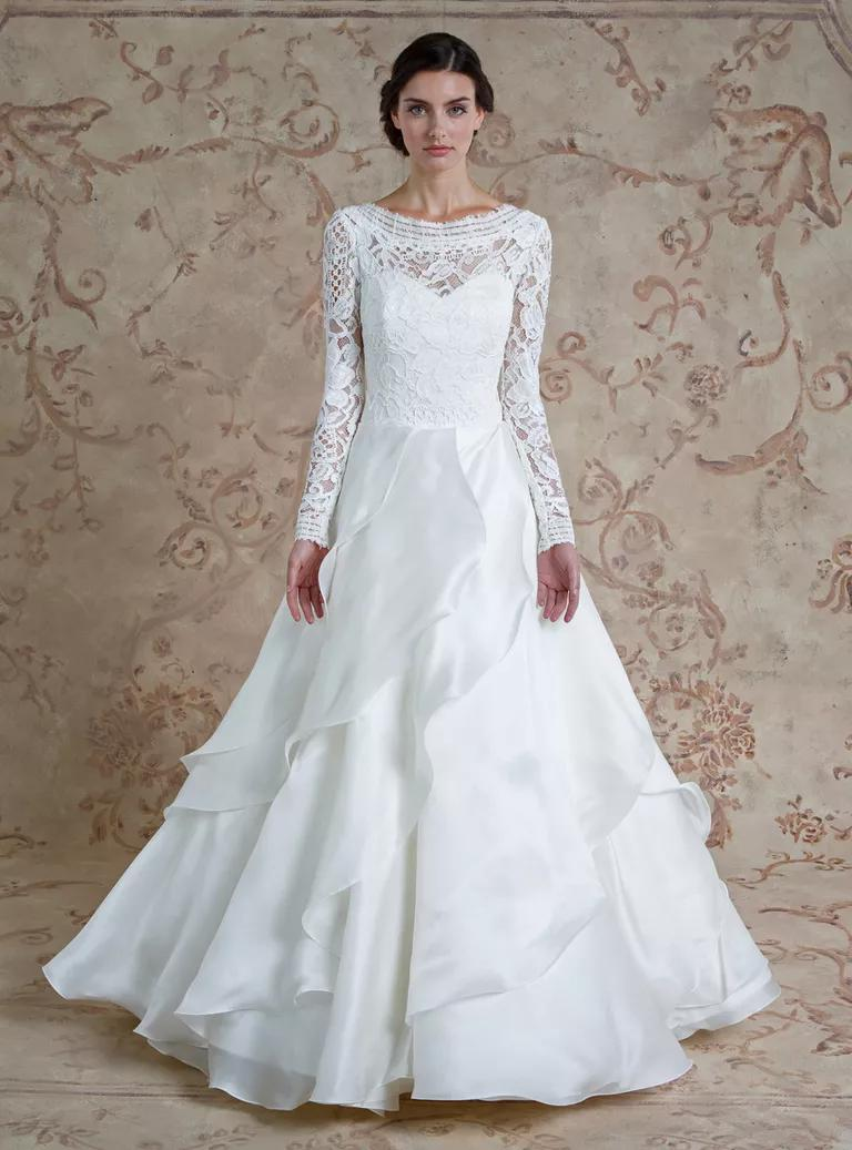 sareh nouri wedding dresses bridal fashion week fall fall dresses for wedding Sareh Nouri Fall illusion neckline lace ball gown wedding dress with long sleeves and ruffled
