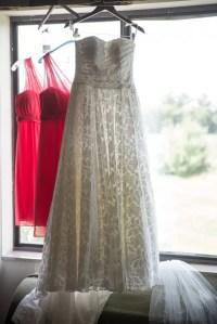 Sarah's Wedding Dress and Bright Punch-Colored Bridesmaid ...