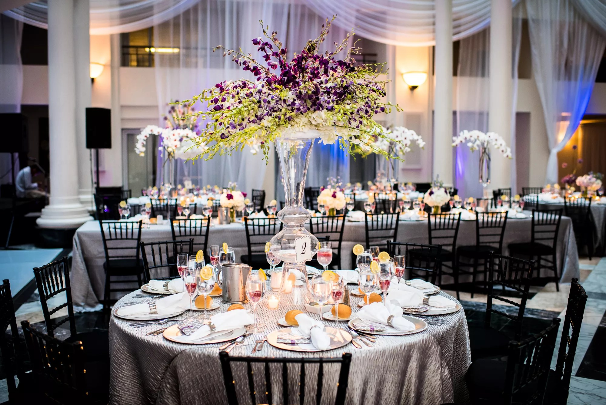 Silver Dining Tables With Black Chiavari Chairs