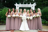 Taupe Bridesmaids Dresses with Pale Bouquets