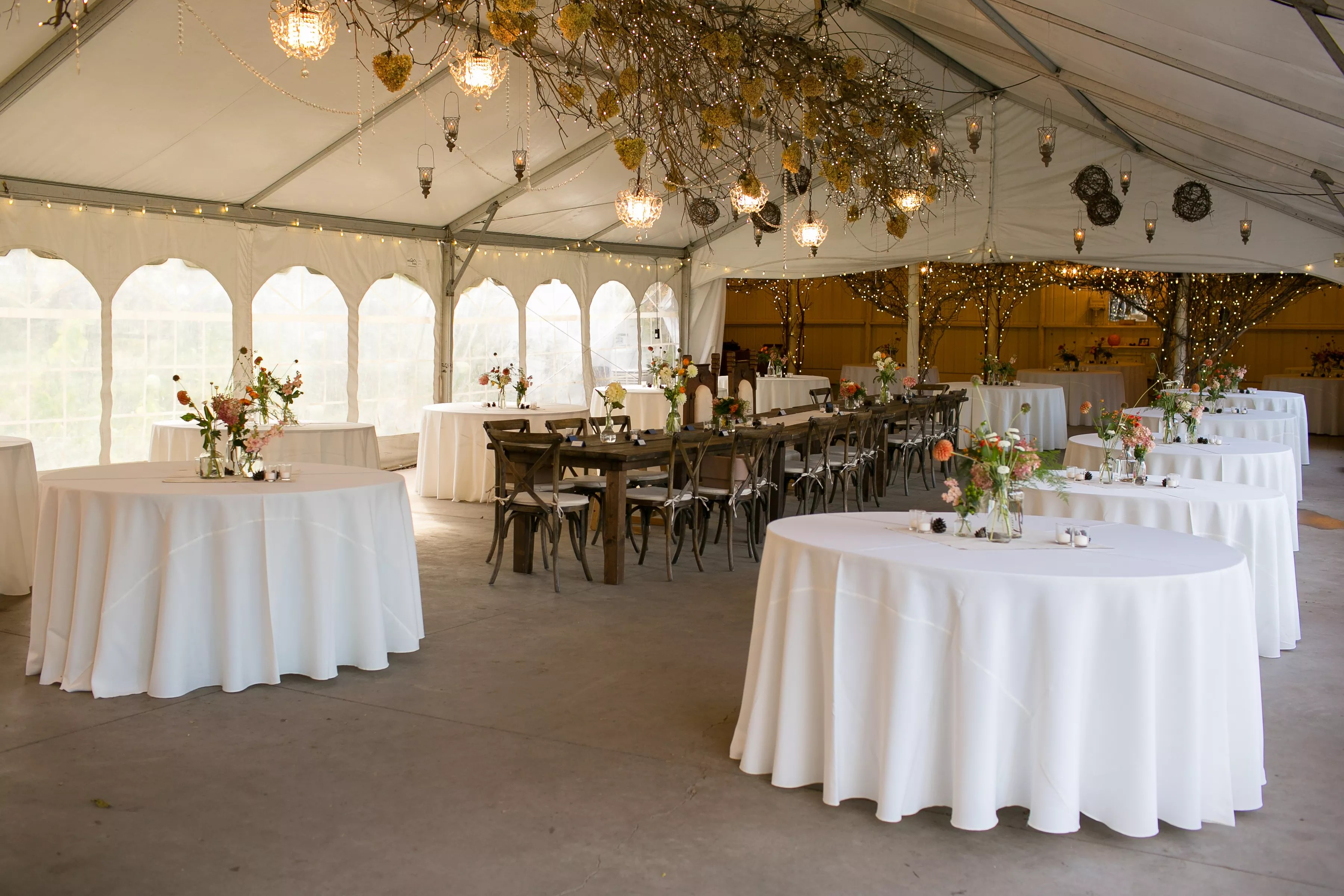 Tented Reception At Camrose Hill Flower Farm