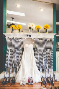 Navy Striped Bridesmaids Dresses and Shoes