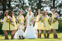 Yellow Bridesmaid Dresses With Cowboy Boots