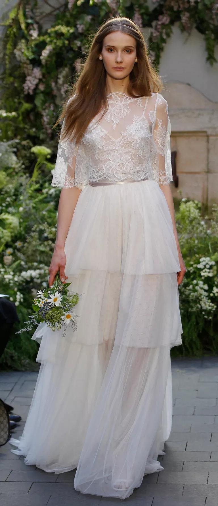 chantilly lace wedding dress designer monique lhuillier chantilly lace wedding dress Monique Lhuillier Spring Wedding Dress With Chantilly Lace Camisole And Blush Tulle Tiered