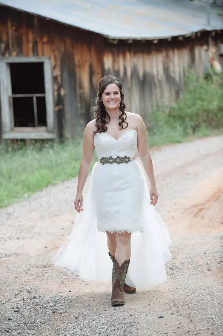 wedding gowns and cowboy boots wedding cowboy boots Custom Wedding Gown With Veil Skirt And Cowboy Boots