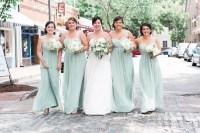 Bill Levkoff One-Shoulder Mint Bridesmaid Dresses