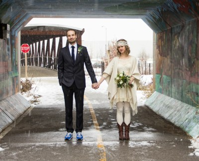 Groom in Suit and Sneakers and Bohemian Bride in Short ...