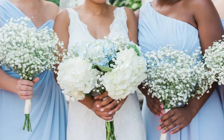 White Hydrangea And Babys Breath Bouquets