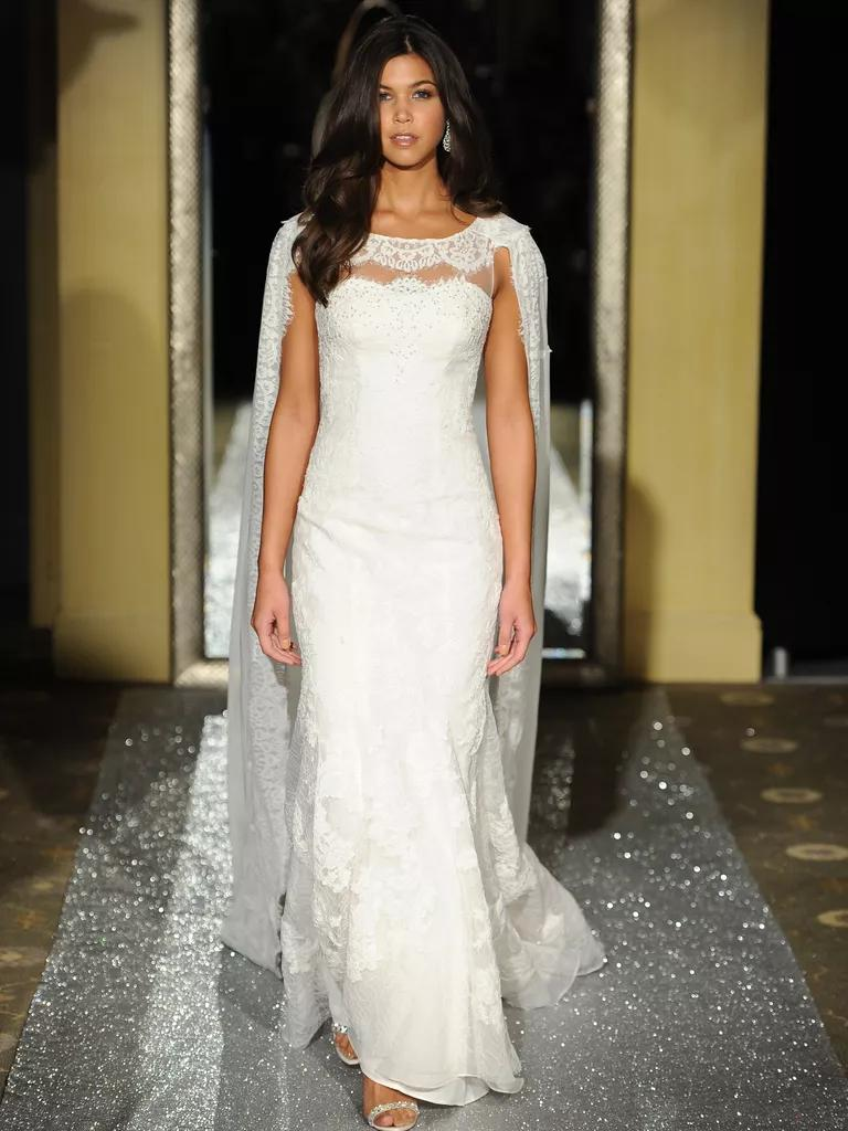oleg cassini bridal fashion week wedding dresses spring wedding dress cape Oleg Cassini fit and flare wedding dress with cape