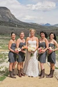 Gray Bridesmaid Dresses, Brown Cowboy Boots