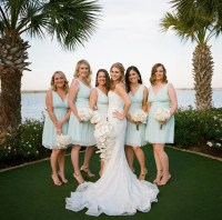 Pale Aqua Silk Chiffon Bridesmaids Dresses