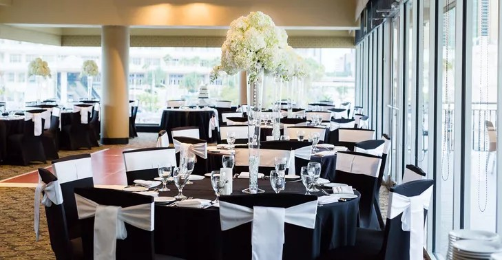 Black and White Round Table Reception Decor - wedding reception round tables