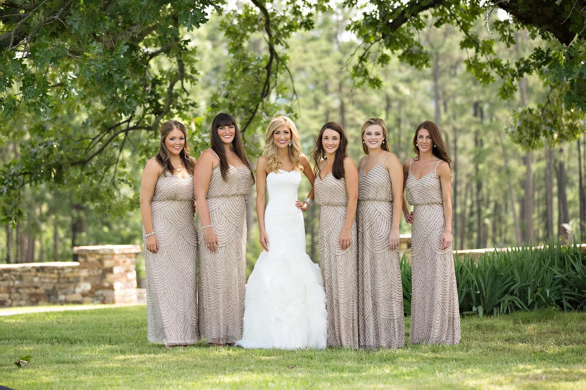 Modern Long Taupe Bridesmaid Dresses