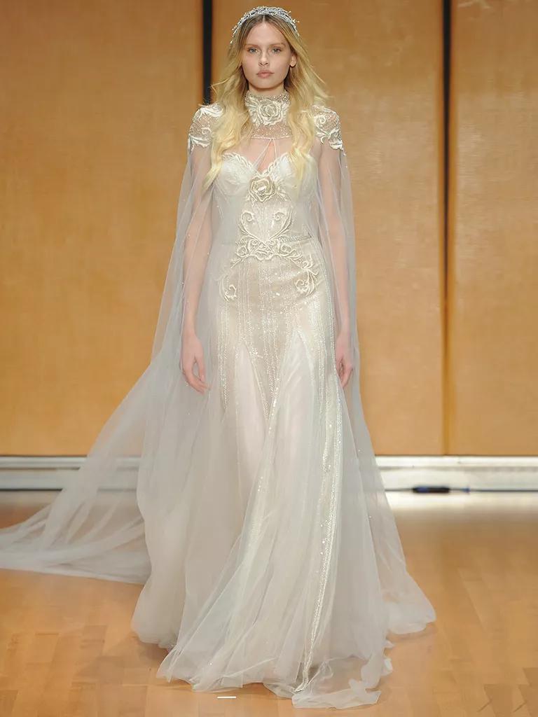 inbal dror wedding dresses bridal fashion week fall wedding dress cape Inbal Dror Fall tulle cape wedding dress
