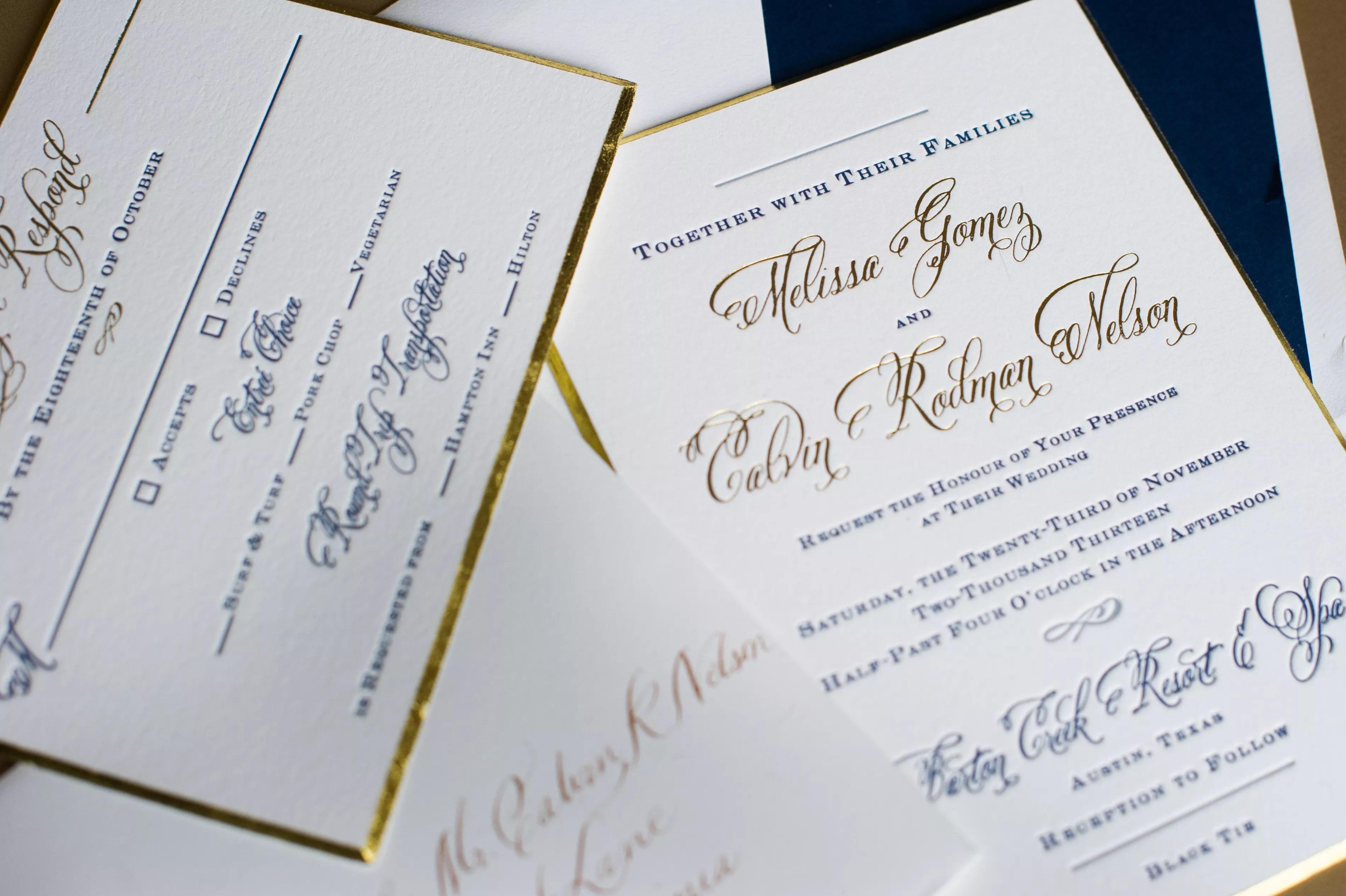 glamorous wedding invitations photos formal wedding invitations Navy and Gold Formal Wedding Invitations