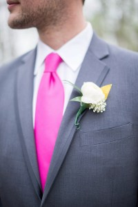 Gray Wedding Suit and Pink Tie