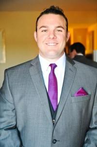 Gray Suit With Purple Tie