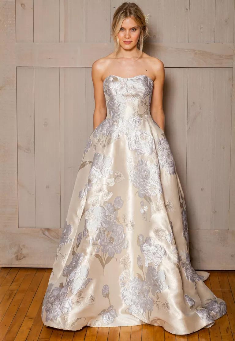 davids bridal fall wedding dresses october wedding dresses David s Bridal Fall ivory floral printed wedding dress