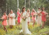 Blush and Coral Bridesmaids Dresses in Woodland, Utah