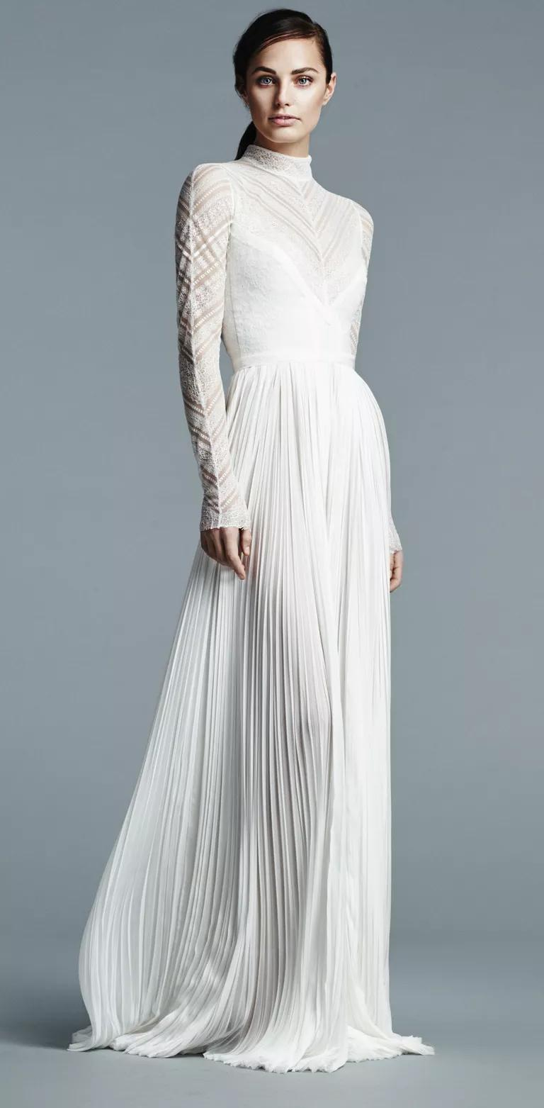j mendel wedding dresses bridal fashion week spring j mendel wedding dress J Mendel high collar long sleeve lace wedding dress with pleated chiffon skirt Spring