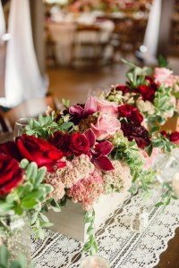 Window Box Centerpieces with Pink and Burgundy Flowers
