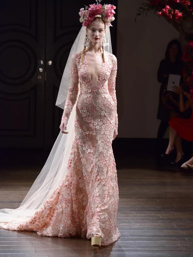 naeem khan wedding dresses bridal fashion week fall wedding dresses pink Naeem Khan Fall pink floral lace long sleeve wedding dress