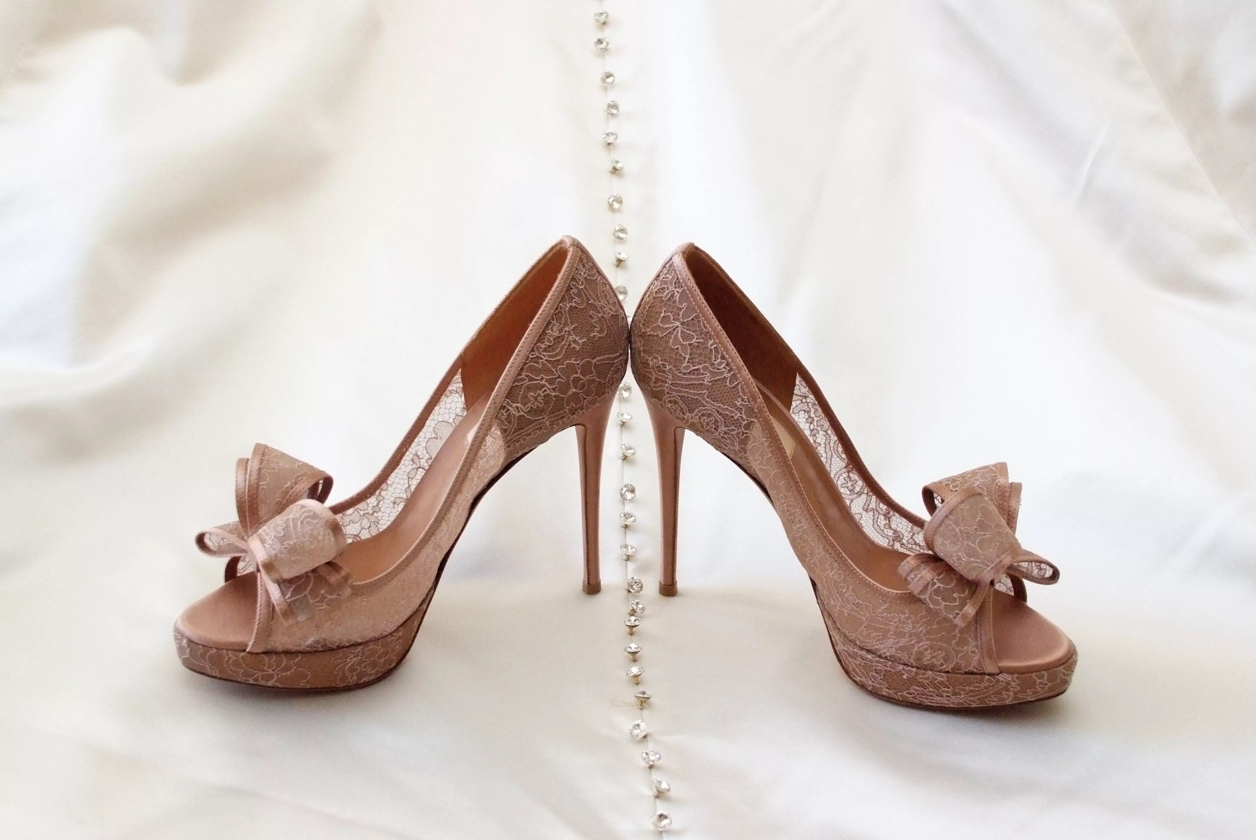 Taupe Lace Valentino Wedding Shoes With Bows