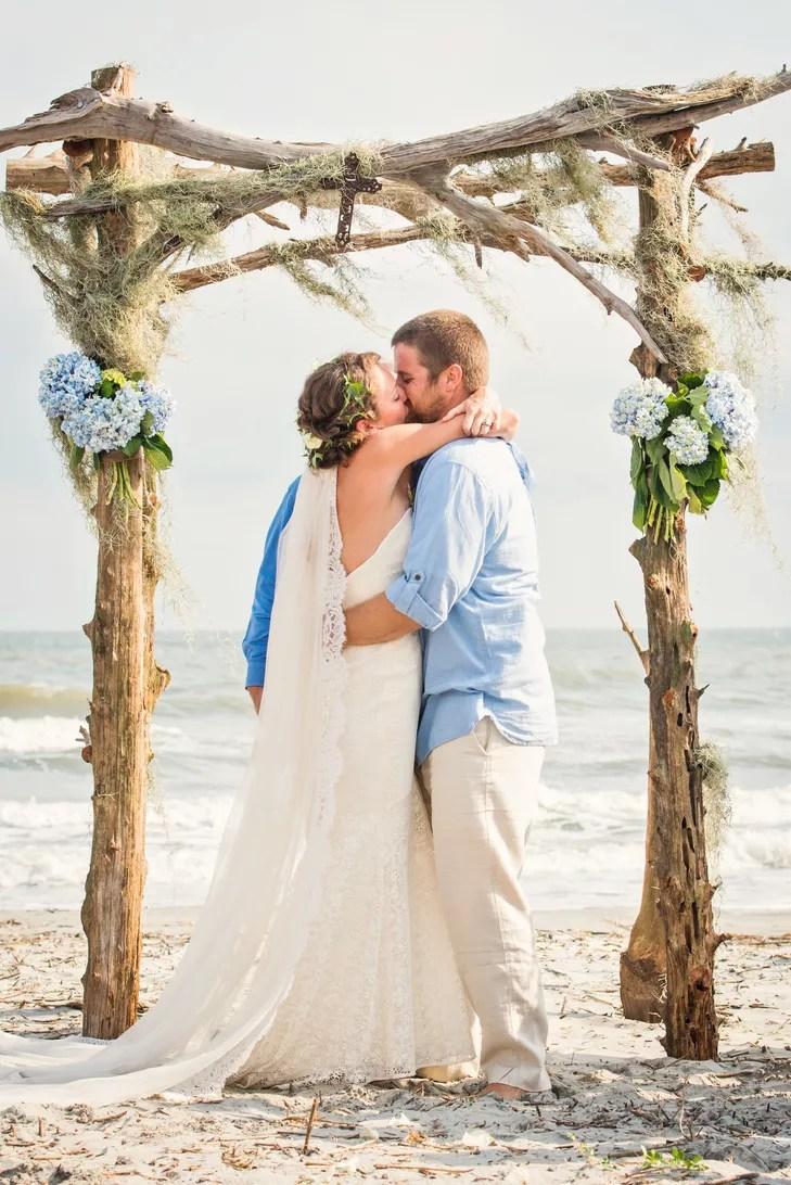 rustic driftwood beachfront wedding arbor photo wedding arbor