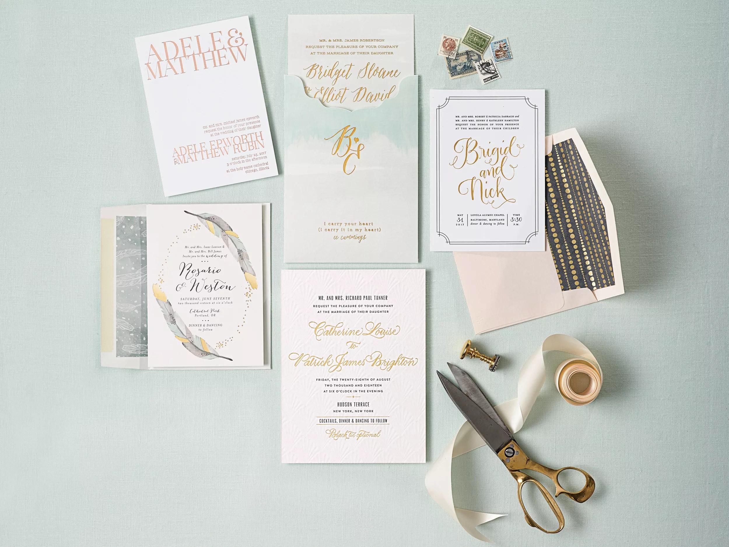 gold foil wedding invitations wedding stationery