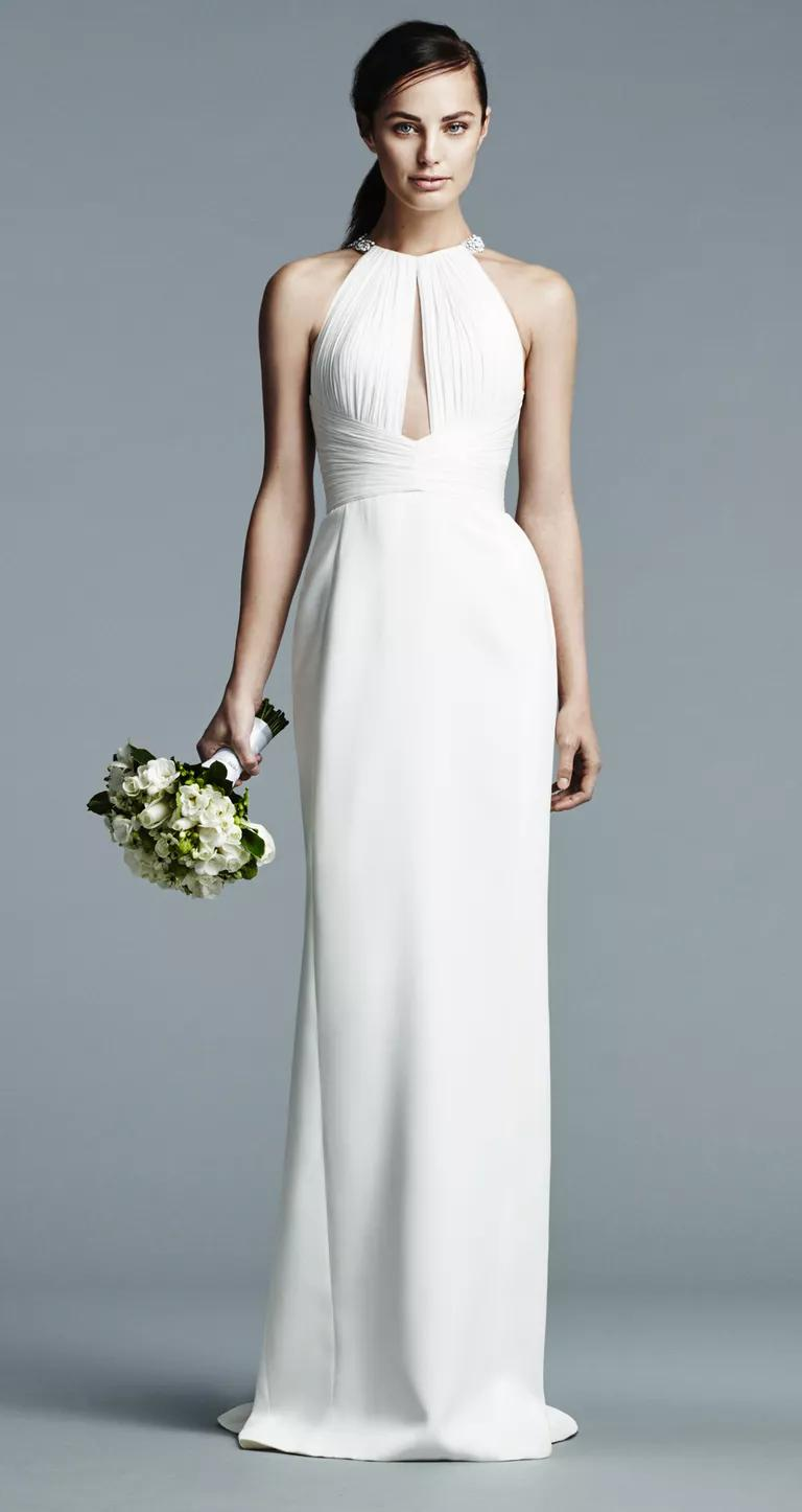 j mendel wedding dresses bridal fashion week spring j mendel wedding dress J Mendel wedding dress with pleated high color and cut out details with sleek crepe de