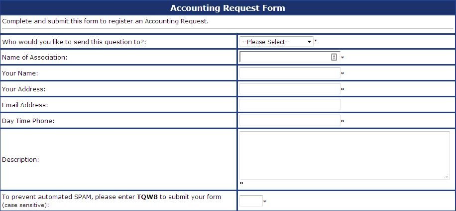 ACCOUNTING REQUEST FORM - Associated Property Management