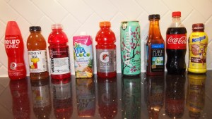Popular Beverages, from least to most sugar per oz, left to right