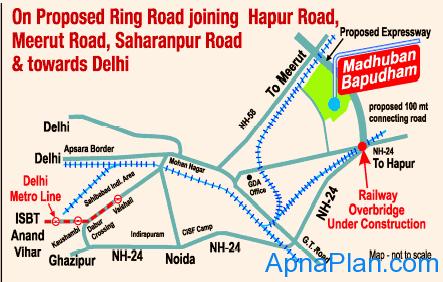 GDA Madhuban Bapudham Scheme - Location Map