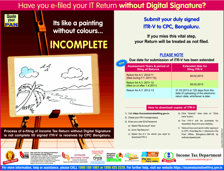 Income Tax Dept Extends Filing Deadline for AY 2012-13 ITR-V Forms to March 31, 2013